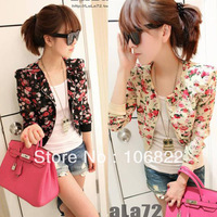 Hot Sales Womens Long Sleeve Chiffon Floral Print Bolero Shrug Jacket Short Coat Zipper HR536
