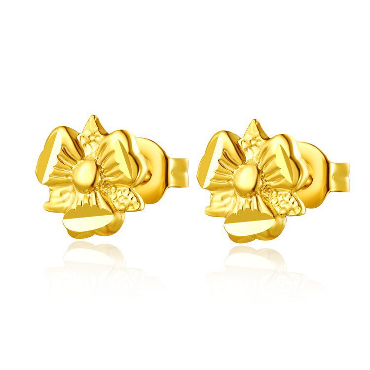 High quality 14k yellow gold plated placer Trumpet flower fashion earrings Happiness(Chin