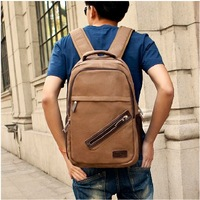 Double-shoulder canvas bag laptop bag middle school students school bag travel backpack vintage backpack casual backpack