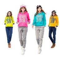 2013 autumn and winter women 39 words hooded thickening fleece sweatshirt casual hoodies pants 2pcs/set