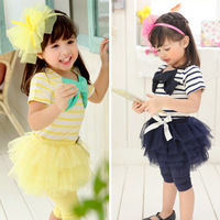31114 New (5set/Lot ) Girs Korean girls bow tutu short sleeve suit jacket Shirt + pants skirt  Babys Children's clothing