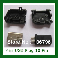 Wholesale Free shipping 5 pcs Mini USB Plug 10 Pin For Phi 90 degree with Plastic Handle