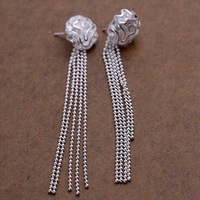 Factory price top quaility 925 sterling silver jewelry earring fine rose tassel drop jewelry earring free shipping SMTE048