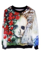 EAST KNITTING XL-104 Fall 2013 new Woman Pullover Tops Skeleton Floral Print Sweatshirt Fashion Hoodies Free Shipping