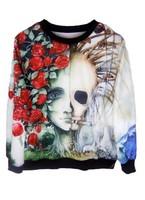 EAST KNITTING XL-104 Fall 2013 new Woman Pullover Tops Skeleton Floral Print Sweatshirt Fashion Hoodies Free Shipping
