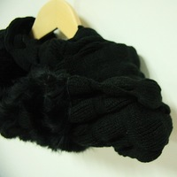2013 winter Fashion elegant black rabbit fur wool knitting stitching warm scarf,sweater shawl wrap,loop scarf,christmas gift
