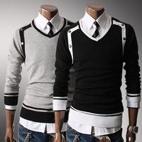 New Men's Pullover Knitwear Korean Fashion Stylish V-neck knitting sweater Leisure Tops Black Gray Knit Coat XXL Free shipping