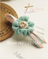 Min.Order $15(Mix order) Free shipping.Korean Style Boutique Chiffon flowers bow buttons Gris Hair Clip.9.5*1.5cm.
