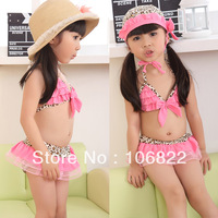 XL00001 Leopard Bikini Top&Bottom With Hat Beachdress Girls Swimsuit Kids Swimwear 1-7 Year