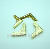 200Pcs Gold Plated Metal Book Corner Albums Menus Folders Corner Protectors 23*23mm  A00464