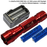 [Red] UltraFire WF-501B U2 Cree XM-L U2 1300 Lumens LED Flashlight +2 x 18650 3000mAh battery+Charger + Free shipping