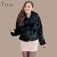 free shipping 2013 faux fur collar long-sleeve polo short design women's fur coat