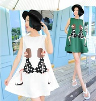 2013 new personalized  girl printed round neck type A big  sleeveless vest dress print dress woman's dress