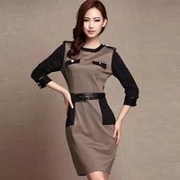 Free Belt! European Star Style Victoria Beckham Dress Slim Elegant O-Neck 3/4 Sleeve Sexy Khaki Women Dresses Free Shipping