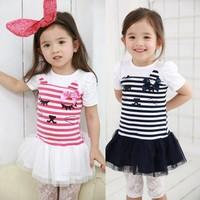Children clothing wholesale 2014 summer new girls cute cat stripe dress yarn one-piece party dress Free shipping 5 pcs/lot