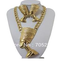 Egyptian Queen Nefertiti Pendants Necklace & Earring Sets-Gold Tone Shipping