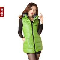 Autumn and winter slim medium-long PU with a hood kaross cotton down vest slim vest cotton-padded jacket