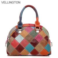 2013 spring and summer genuine leather women's handbag small shoulder bag handbag first layer of cowhide female color block