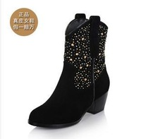 size34-39 women's thick high-heeled rhinestone winter warm thermal mid-calf handmade genuine leather black sexy boots hh454