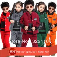 Winter Warm clothing sets Patchwork More colors Fur/Plush 110-160cm Baby wear Sport suit Kids suits Costume for Baby boy wear