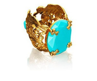 turquoise blue resin stone inlay 18k gold bangle fashion exaggerated women hollow metal bracelet  DL96637