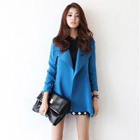 Quality Fashion 2013 women's trench elegant slim medium-long outerwear BLUE TRENCH plus size womens coat  free shipping