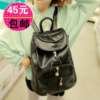 2013 women's handbag bag black casual bag preppy style backpack women's bag 1152