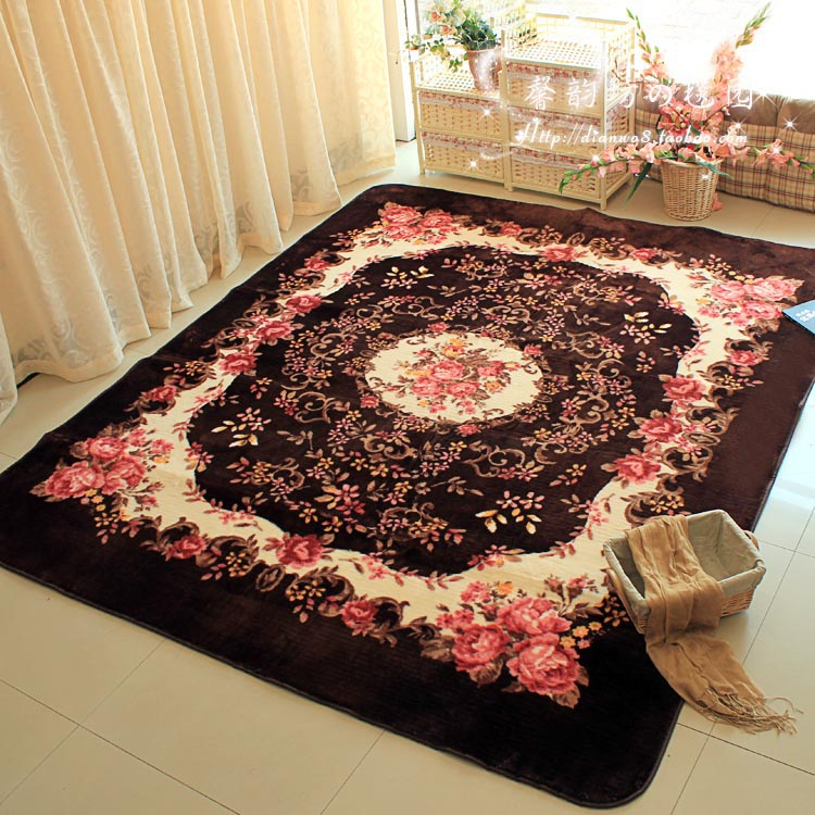 185 185cm dark brown custom design soft carpet warm mat