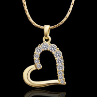rhinestone pendant Golden heart-shaped classic designs jewerly silver 925