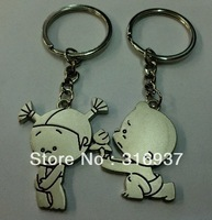 New Couple Keychains Little Boy and Girl Zinc Alloy Key Ring For Lover 2 PCS/ Pair  Keyring