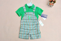 Retail Free shipping Children Clothing set 2013 Boy Polo Sport Casual 2pcs Suit T shirts +Suspender Plaid Pants For Newborn
