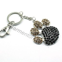 5cm size big rhinestone alloy paw print pendant key chains for dog or cat animal lover people ewelry