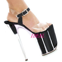 New arrival 2012 cm 20 ultra high heels sexy performance shoes celebrity dress dinner party black sandals