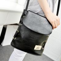 Free shipping Pu brief casual popular solid color Women vertical bucket square shoulder bag messenger bag handbag women's