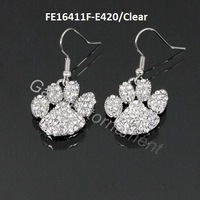 (Min.$10-mix order) mix color dog or cat animal lover people jewelry of rhinestone paw prints alloy earrings nickle free