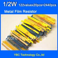 1/2W 122valuesX20pcs=2440pcs Metal Film 1% Resistor Kit Resistor Pack for DIY  Free Shipping
