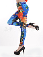 K1088 new European Seamless Denim Leggings pantyhose undersea world printing Wholesale