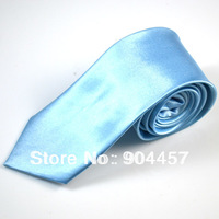 7CM Mens Necktie Ties Solid Color Tie Imitates Silk Ties Light Blue Free Shipping 10 PCS