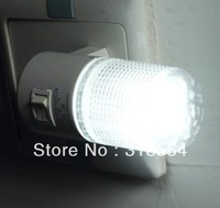 200pcs/lot LED Night Light Lamp Wall EU Plug 6LED Bright White Light Saving Energy AC power Free Shipping