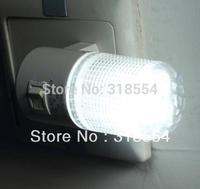 200pcs/lot LED Night Light Lamp Wall EU Plug 6LED Bright White Light Saving Energy AC power Free Shipping