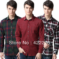 2013 new fashion 2013 men' s long sleeve shirts autummn  casual slim fit  plaid shirt,Lattice, cultivate shirt
