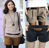 2013 autumn and winter women plus size slim fashion roll up hem woolen shorts casual boot cut jeans female trousers