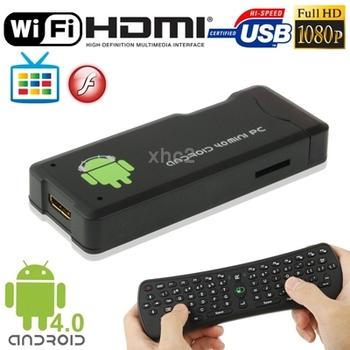 MK802 Black Full HD 1080P Mini Android 4.0 TV Box Mini PC Multi-media Player WIFI, HDMI/ USB 2.0 with 2.4GHz Wireless Keyboard