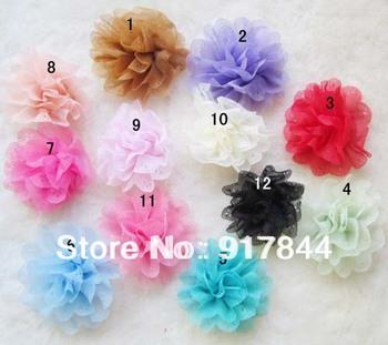 LC0025 new 30pcs CHIFFON FLOWER Hair Clips Kid Baby Girl Headband Headwrap Headbands Headwear Hair Bow Clip Crochet Knit
