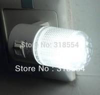 100pcs/lot LED Night Light Lamp Wall EU Plug 6LED Bright White Light Saving Energy AC power Free Shipping