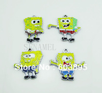 S9861! Free Shipping 100Pcs/Lots Enamel MIXED SpongeBob SquarePants  charms for key charm