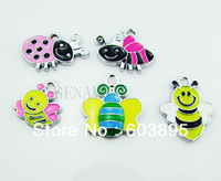 S65!11 Free Shipping 100Pcs/Lots Enamel MIXED bee charms for key charm