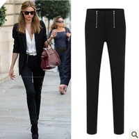 ZA Fashion 2013 new autumn winter women's British style casual trousers skinny pants tight pencil pants female wild black white