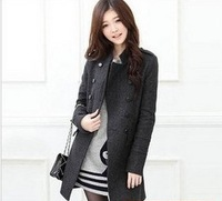 Free shipping 2014 new Autumn and winter woolen outerwear double breasted woolen overcoat outerwear thick pocket