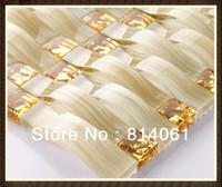 luxurious yellow strip mosaic/hot sale gold glass mosaic tile